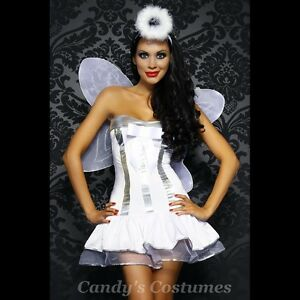 TUTU-Dress-ANGEL-Costume-WINGS-Socks-HALO-Sexy-WHITE-Silver-PETTICOAT-Sz-10-12