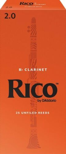 D/'Addario RCA2520 Rico 2.0 Strength Reeds Bb Clarinet Pack of 25