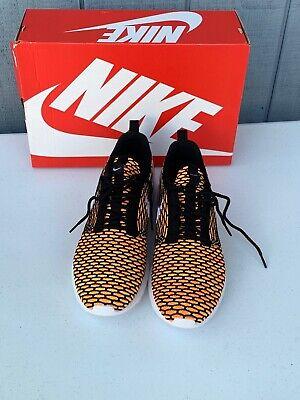 New Nike Roshe NM Flyknit Black Total Orange Volt Sz 11.5