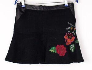 DESIGUAL-Women-Wool-Viscose-Mini-A-Line-Skirt-Size-40-ATZ710