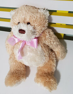 HARRODS-PROMOTIONAL-TEDDY-BEAR-PINK-RIBBON-TOY-22CM-SEATED-GORGEOUS