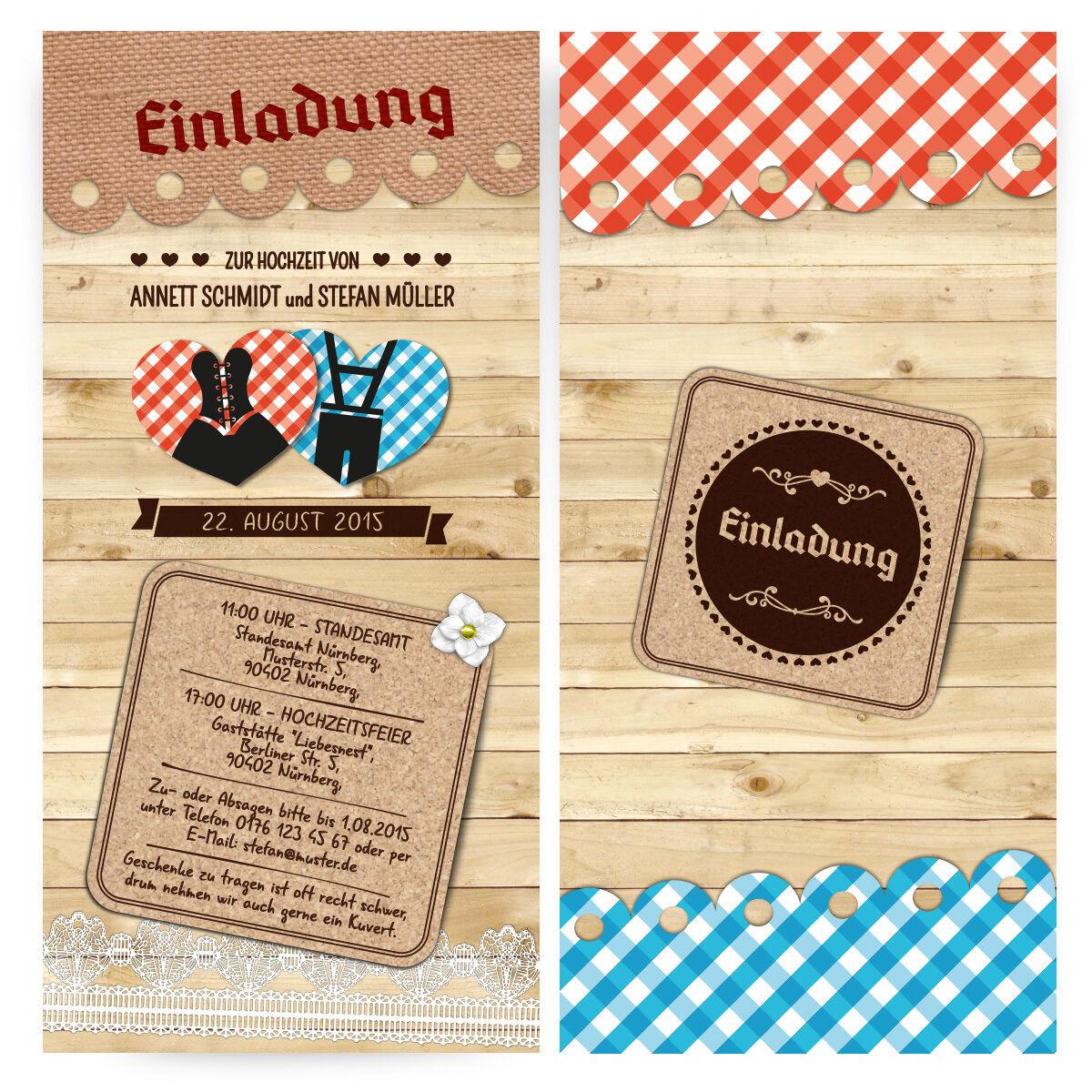Einladungskarten zur Hochzeit Bayern Herzen Hütten Gaudi Karo Oktoberfest Wiesn   Sehr gute Farbe    Ausgezeichnete Qualität