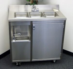 Charmant Image Is Loading Stainless Steel Concession 4 Compartment Sink Cart