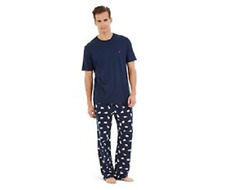 $100 NAUTICA Men's PAJAMA SET S/S SHIRT FLANNEL PANT Blue POLAR BEAR Sleepwear L