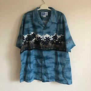 MENS-BLUE-FLORAL-PATTERN-TRADITIONAL-HAWAIIAN-T-SHIRT-X-LARGE