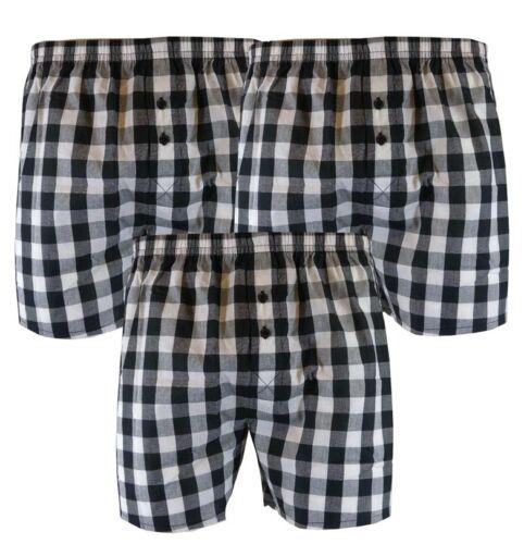 Hommes 3pk Noir et Blanc Tissé Carreaux Boxer Shorts