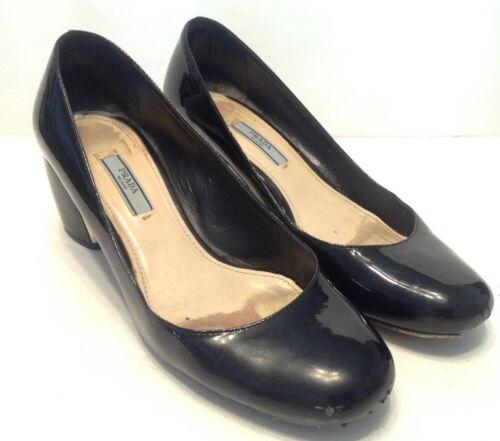 Prada Milano Black Patent Leather Block Heels Size