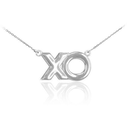 """Ladies 925 Sterling Silver Hugs and Kisses /""""XO/"""" Dainty Necklace"""