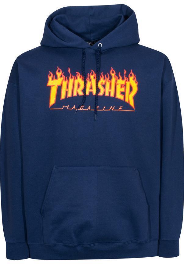 THRASHER Flame Hooded Sweatshirt Navy S