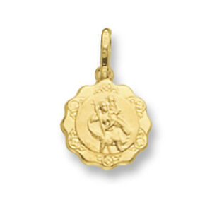 SAINT-CHRISTOPHER-PENDENTIF-OR-JAUNE-SAINT-CHRISTOPHER-FESTON-BORD-13mm