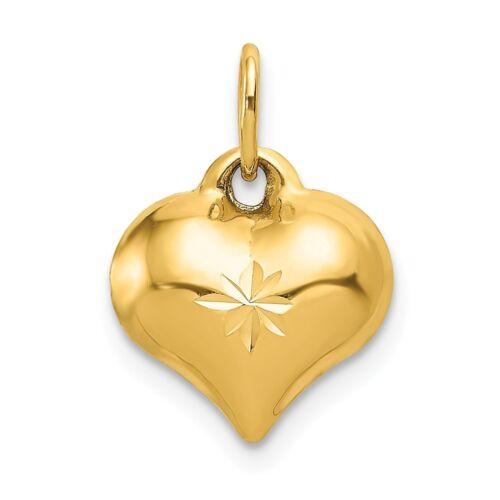14k Yellow Gold Puffed D//C Heart Charm Pendant 0.59 Inch
