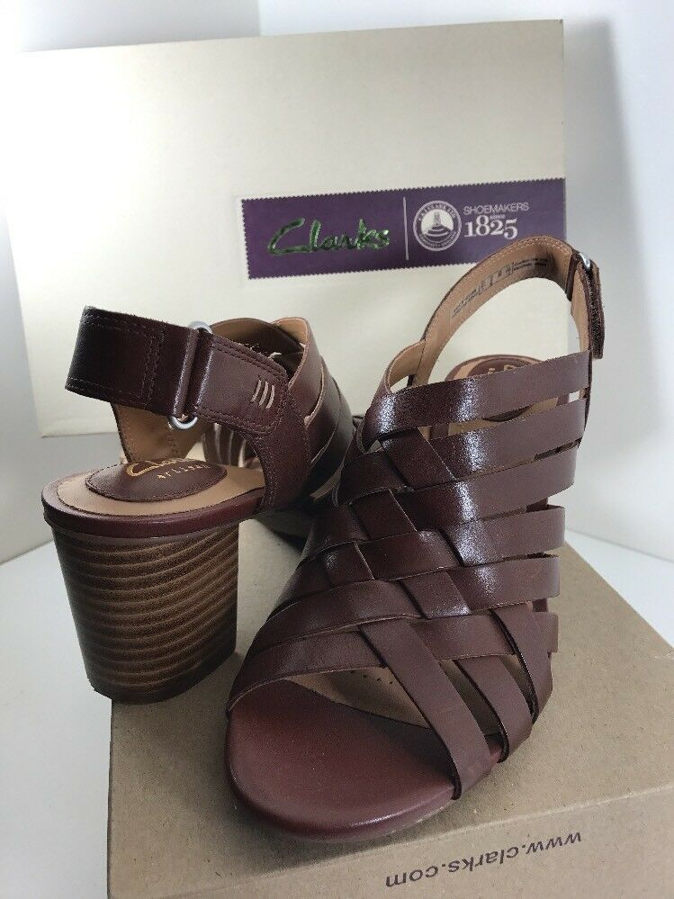 Clarks Ralene Luster Womens Heeled Slingback Sandals  Leather Sz 8 New Dark Tan