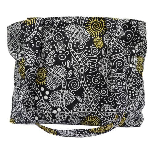 Warrina Diseños aborígenes australianos Auténtico Bolso De Hombro Cartera Negro Mujer