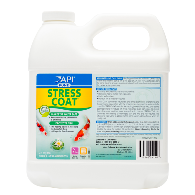 Pond Care Stress Coat 64 oz treats 7680 gal Removes Chlorine Conditions Water