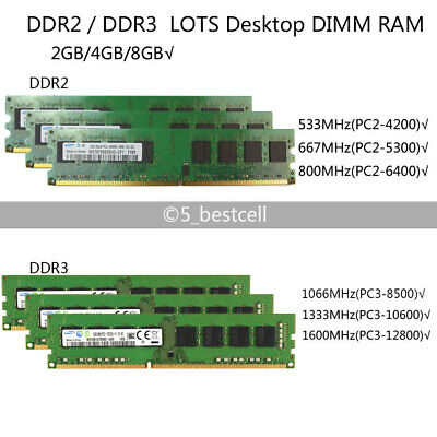 Lot For Micron 4GB 2GB PC2 5300 6400U DDR2 DDR3 800 1333MHz Desktop Memory RAM