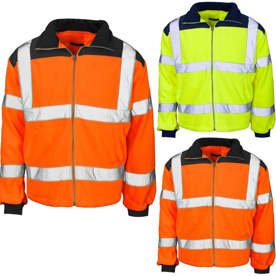Hi Vis 2 colori Giacca in pile RAIN PATCH color riflettente Cappotto SAFETY