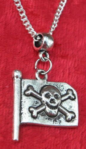 "Jolly Roger Pendant Necklace 18 or 24/"" Inch Pirate Rebel Skull Crossbones Charm"