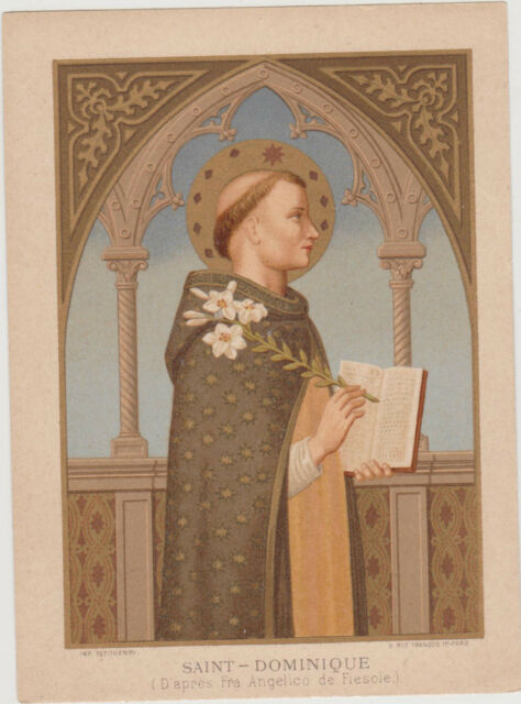GRANDE IMAGE PIEUSE HOLY CARD SANTINI-10.5X14.5CM-SAINT-DOMINIQUE-(Fra Angelico)
