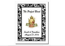 60 Personalized Floral Damask Wedding Tea Bag Rectangle Favor Labels Stickers