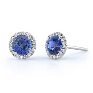 Image Is Loading 0 9 Ctw Round Blue Tanzanite Stud Earrings