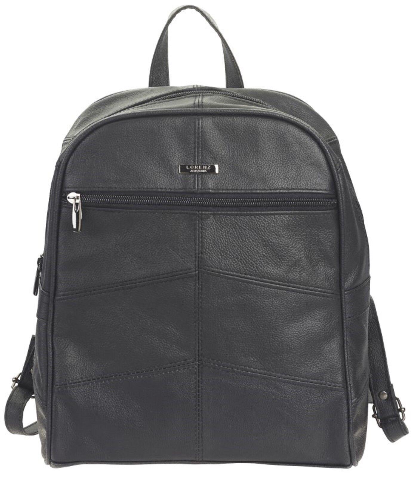 1e460e740a Lorenz Ladies womens Large Genuine Black Leather Backpack Rucksack ...