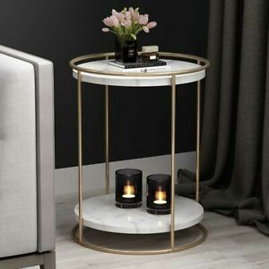 Details About Contemporary Gold Black Metal Frame 2 Tiers Marble Wood Top Round Side Tables