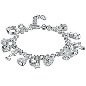 13-PC-Charm-Bracelet-Made-with-Swarovski-Crystals-18K-White-Gold-7-8-034-ITALY