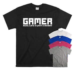 Gamer Real Life Is Just A Hobby Funny Slogan Kids T-shirt Gaming Top Gift New