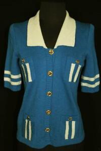 VINTAGE-1960-039-S-ADOLFO-DESIGNER-ROYAL-BLUE-KNIT-WOOL-SWEATER-JACKET-SIZE-34
