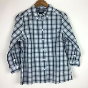 Pendleton-Women-039-s-Size-M-Gray-Blue-White-Shirt-Button-Front-Plaid-Long-Sleeve