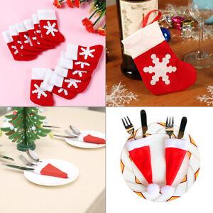 Noel-Couverts-detenteurs-Set-de-Noel-Santa-Claus-vaisselle-decor-Fourchette-Cuillere-Sacs