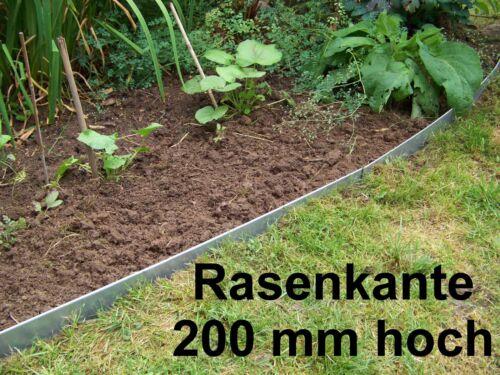 15er Set Rasenkante Beeteinfassung,200mm hoch aus Edelstahlblech 18,40 m lang