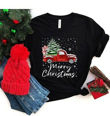 Vintage Red Truck with Christmas Tree Unisex Kids Cotton Shirts Soft Long-Sleeved Top/&Tee