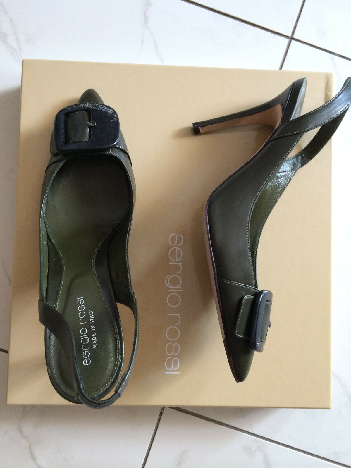 ORIGINAL PUMPS SERGIO ROSSI  LUXUS PUMPS ORIGINAL SCHUHE Schuhe GR. 39  KHAKI MADE IN ITALY 9d5b9e