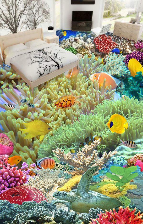 3D Pretty Coral Fish 954 Floor WallPaper Murals Wall Print Decal AJ WALLPAPER US
