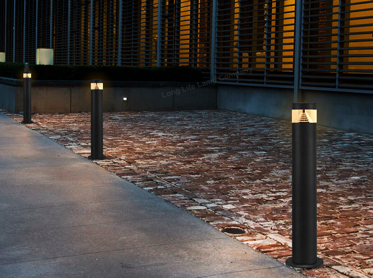 Details about Modern BLACK LED Bollard Garden Lamp Post 12W Outdoor  Stainless Steel Light