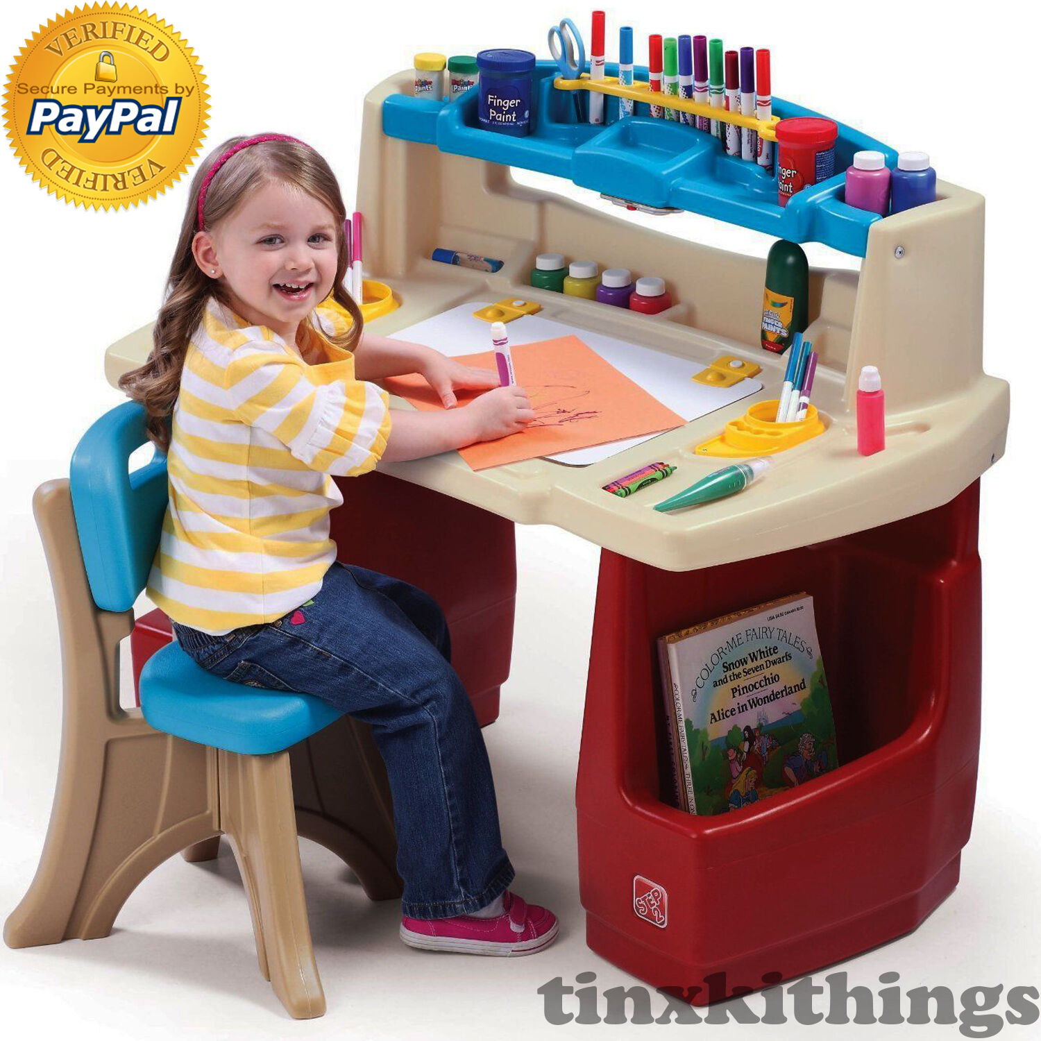 Superb Kids Art Desk Table With Chair Set Small Toddler Play Room Children Study Child Dailytribune Chair Design For Home Dailytribuneorg