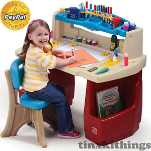 Kids Art Desk Table With Chair Set Small Toddler Play Room
