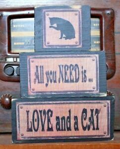 All-You-Need-Is-Love-and-A-Cat-Primitive-Rustic-Stacking-Blocks-Wooden-Sign-Set