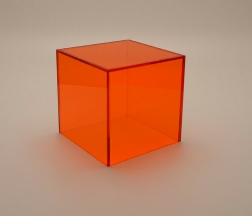 Plastic Perspex Cube Display Stand 5 Sided Box Acrylic Tray Retail Shop Holder