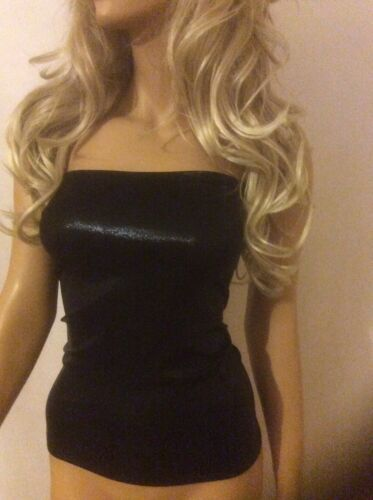 Boob Tube Long Shiny Wet Look Black Bandeau Top Stretch Strapless Club Vest A05