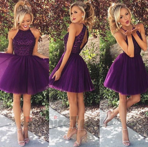 2016 Beaded Purple Short Cocktail Party Dresses Bridesmaid Prom Graduation Gown