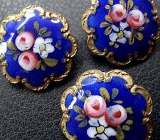 antique Victorian set of 3 painted enamel rose flower gilt buttons -C357