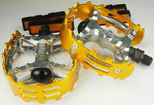 "Old school BMX XC-II Wellgo bear trap pedals 9/16"" (FOR 3 PIECE CRANKS) GOLD"