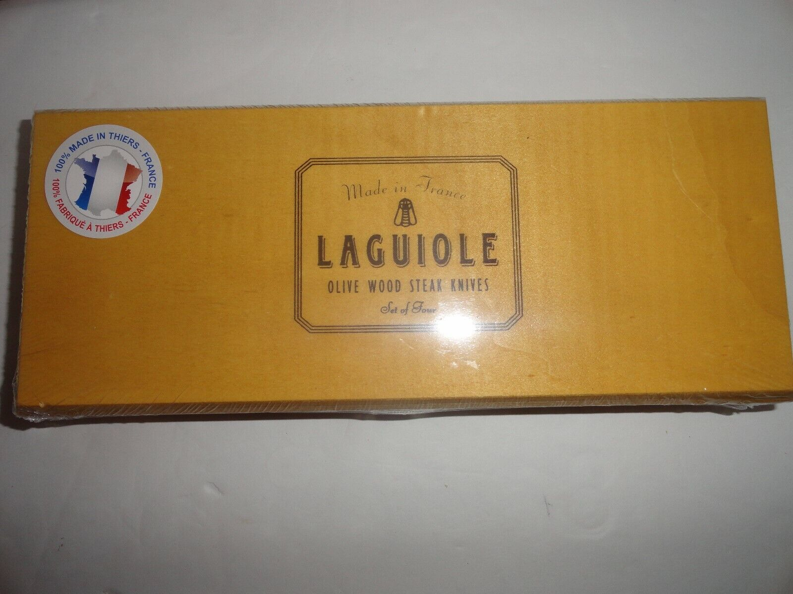 Laguiole Jean Dubost 4 piece Olive Wood Steak Knife Set with Presentation Box
