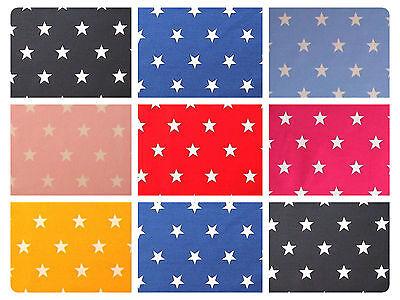 "White Stars on Coloured 100% Cotton Poplin Fabric 44"" (112cm) - 20mm Stars"