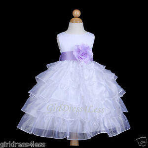 dcca806d8257 WHITE LILAC TIERED ORGANZA WEDDING FLOWER GIRL DRESS 12M 18M 2 2T 3 ...