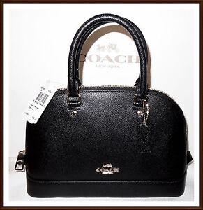 Coach Mini Sierra Satchel Leather Handbag Bag Purse Crossbody BLACK ... 5431606c361c4