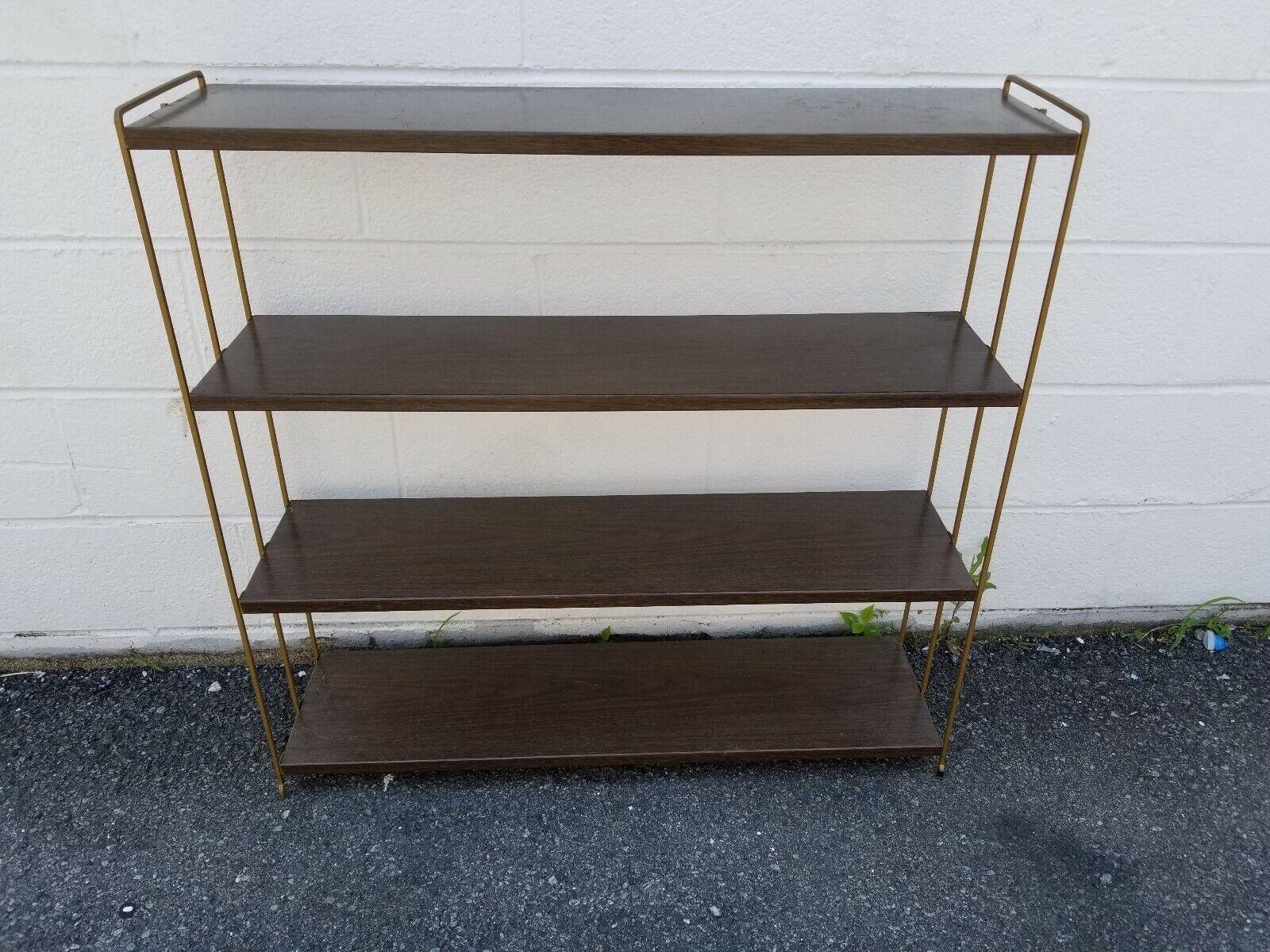 Mid Century Modern Mcm Brown Gold Metal Bookcase Bookshelf 4 Shelves