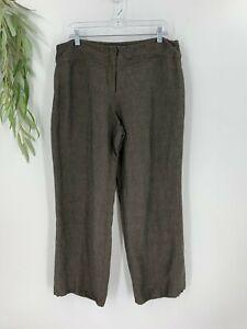 Eileen Fisher Womens Wide Leg Linen Blend Pants Size Large L Gray Brown Slacks